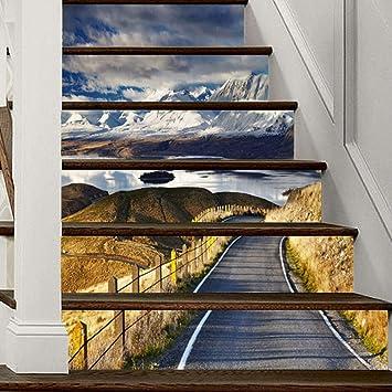 Pegatinas para Escaleras 3D Montaña Nevada Escalera Calcomanía PVC Autoadhesivos Impermeable Fotomurales Extraíble Etiqueta de Pared para Cuartos Dormitorio Cocina Decoración, 18cmx100cmx6pcs: Amazon.es: Bricolaje y herramientas