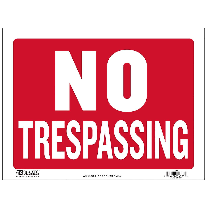 "No Trespassing Red White Plastic Sign 12/""x9/"" S-13"