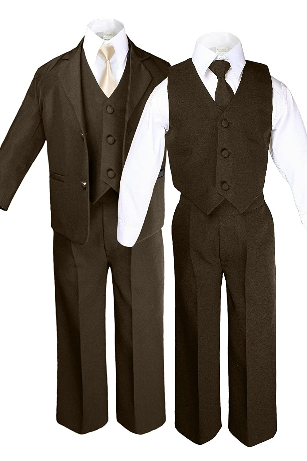6pc Boy Baby BROWN Formal Tuxedo Suits set with Satin Champagne Necktie SM-12