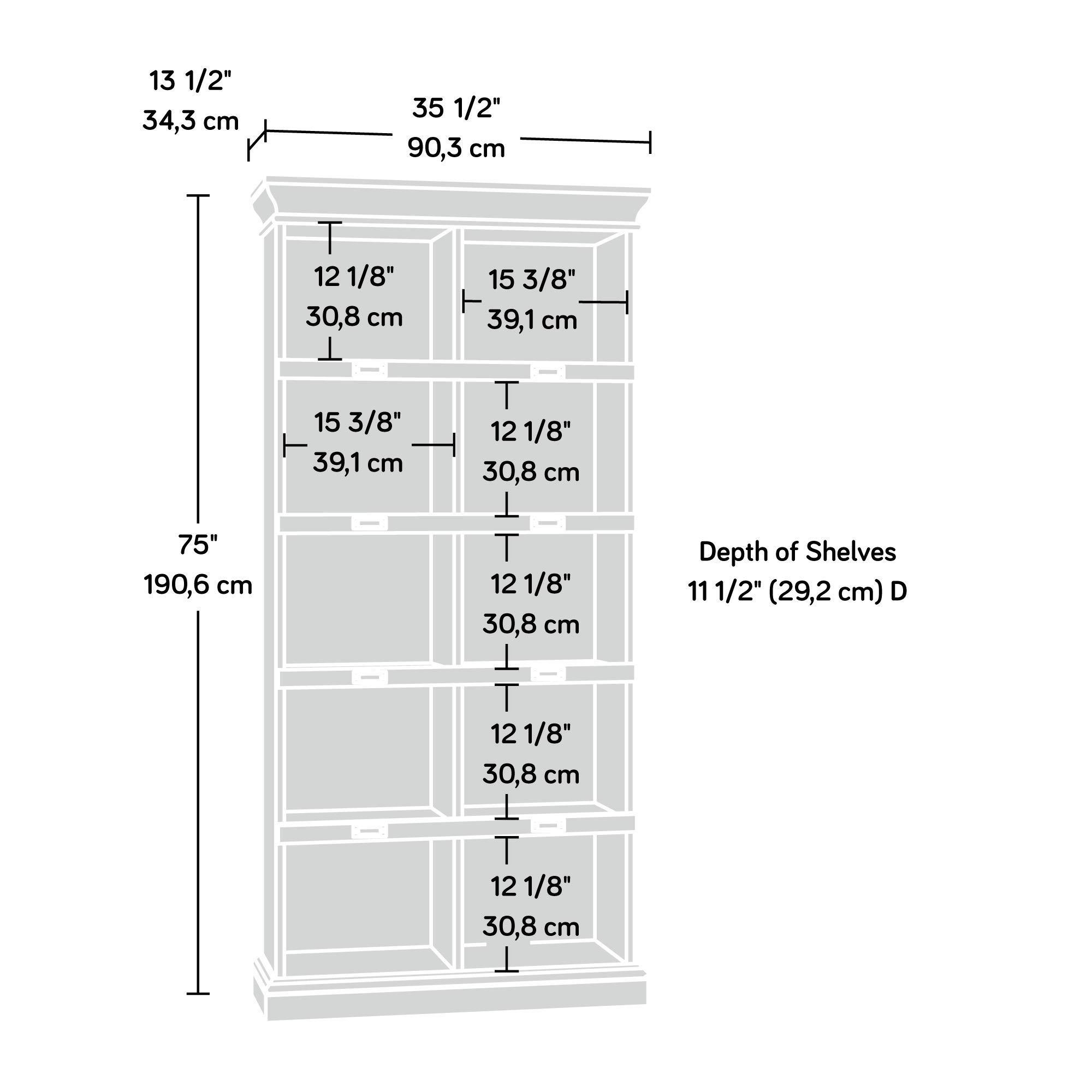 Sauder 414725 Barrister Lane Bookcase, L: 35.55'' x W: 13.50'' x H: 75.04'', Scribed Oak finish by Sauder (Image #4)