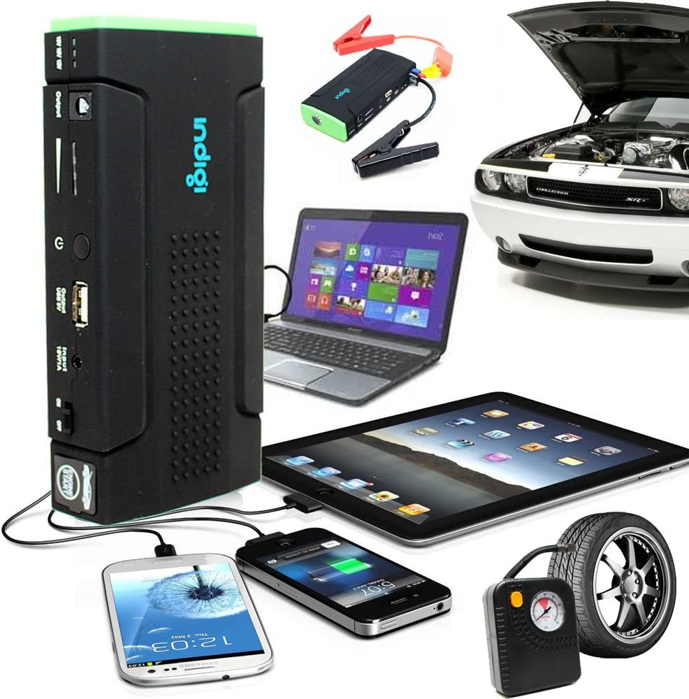 Indigi Power Bank Cell Phone Laptop Car JUMP STARTER TIRE COMPRESSOR AIR PUMP SOS Emergency Hiking Camping Travel Kit - MUST HAVE