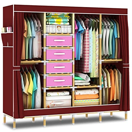 Charmant HHAiNi Portable Wooden Wardrobe Closet, Super Large Clothes Storage  Organizer, Free Standing Cabinet Rack