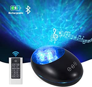 Ocean Wave Projector, Night Light with Remote Control and Timer, USB Rechargeable Bluetooth Projector Lamp with 7 Color Modes and 8 Ambient Nature Tunes (Black) (Black-01)