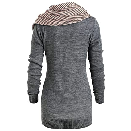Amazon.com: AIMTOPPY Womens Long Sleeve Striped Button Scarf Collar Knit Sweater Jacket Blouse: Computers & Accessories