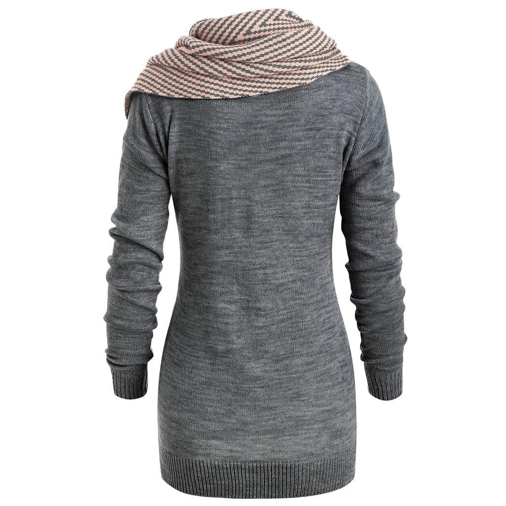 Tricot Revers Sanfashion Sweat Col Long Robe Et FemmePull Rayé WE9D2YHI