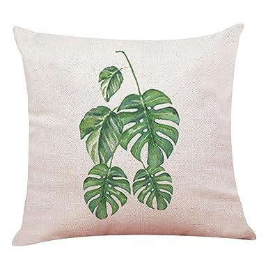 Logobeing Funda de Cojín Con Estampado Tropical de Plantas Verdes Fundas de Cojines Almohada Decorativos Diseño Para Sillas Camas SofáS 45X45