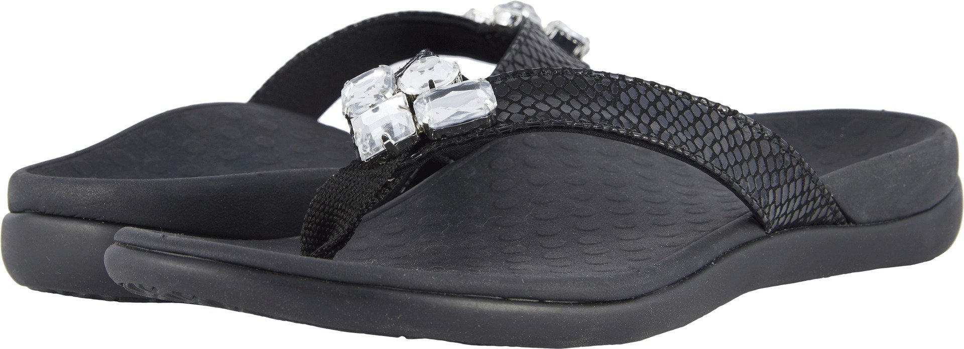 Vionic Tide Jewel- Womens Flip Flop Sandal Black Snake - 8 Medium by Vionic