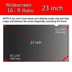 Magicmoon Privacy Filter Screen Protector, Anti-Spy&Glare Film for 23 inch Widescreen Computer Monitor (23'', 16:9 Aspect Ratio) (Tamaño: 23 Widescreen (16:9))