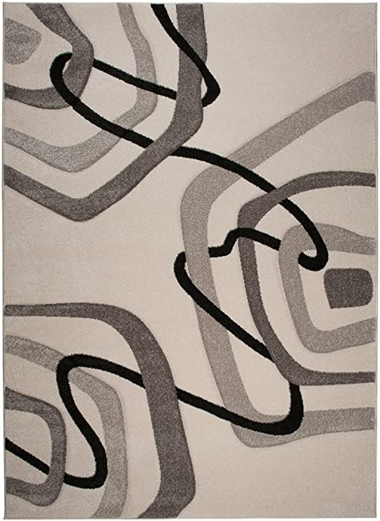 TAPISO Sumatra Tappeto Salotto Moderno Soggiorno Motivo Cerchi Astratto Morbido Antracite Blu Verde 60 x 100 cm