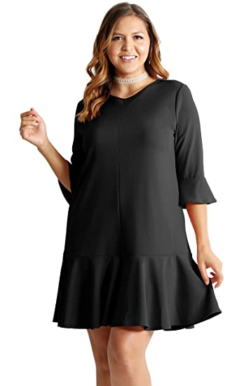 6840dfd3ac807 Womens Plus Size Cocktail Dress 3 4 Sleeve Ruffle Hem Plus Size Shift Dress  (1X US 8-10