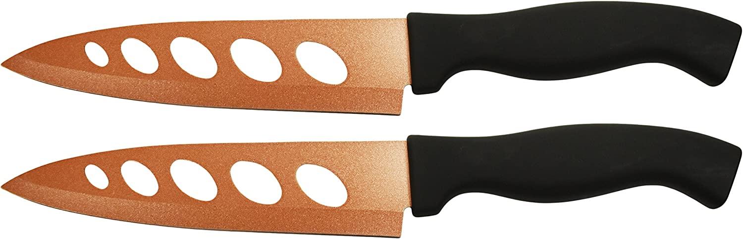 "Set of 2 Copper Knives! 6.25"" Blade - As Seen on TV Never Sharpen Knives! Stays Sharp Forever! Effortless Clean Cuts Every Time! Ideal for Chopping, Dicing, Mincing, and More! (2)"