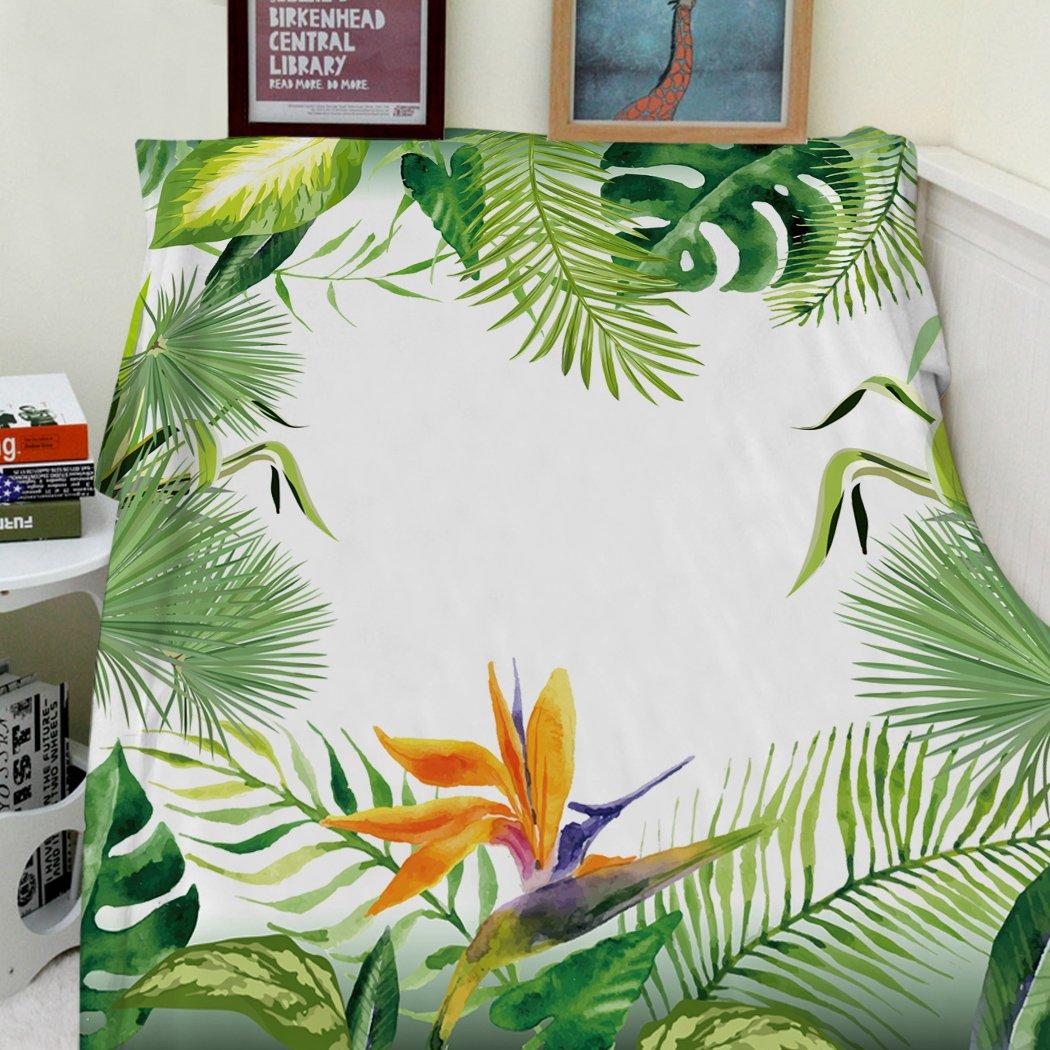 vert 75 x 100cm Flanelle /épaisse couverture douce chaleur gem/ütlich flanelle Canap/é en polaire de couverture couvercle feuillage vert plante tropicale Palm
