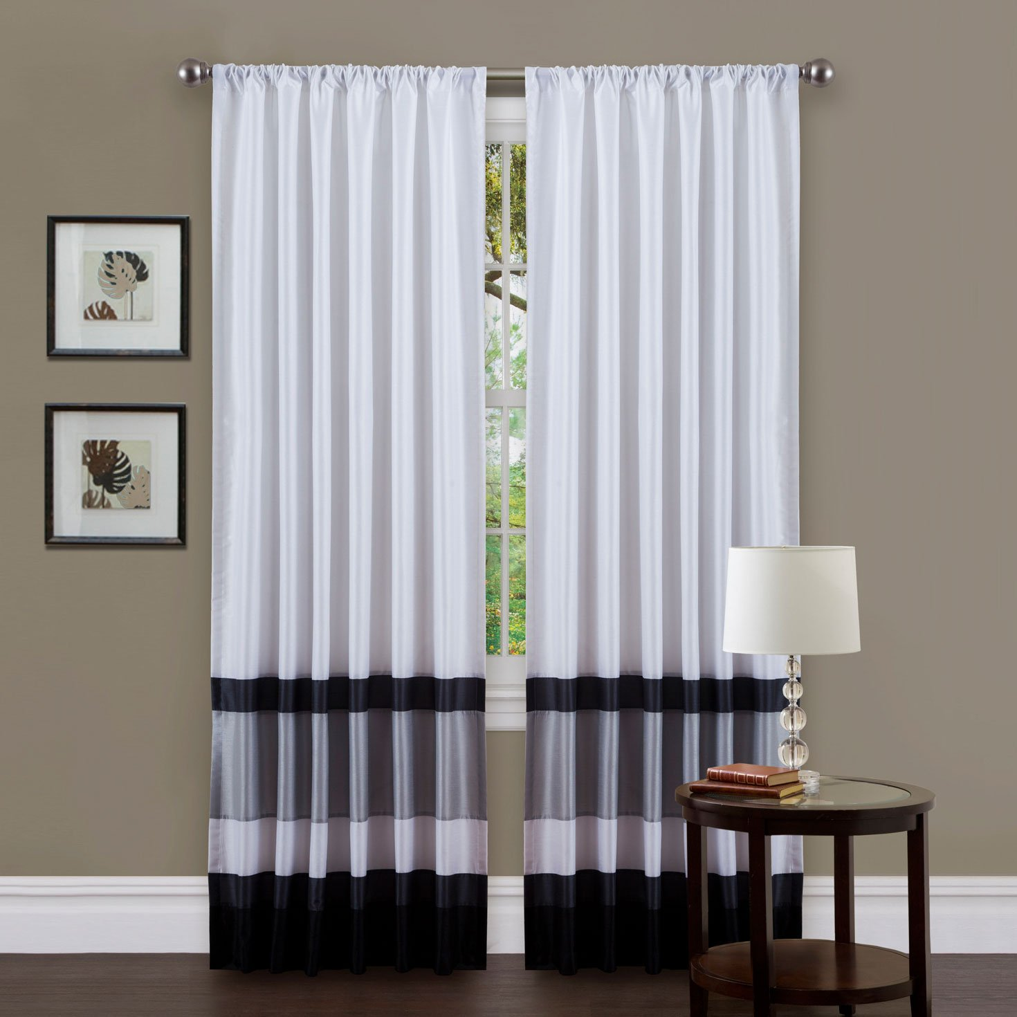 Triangle Home Fashions 19334 Lush Decor 54-inch x 84-Inch Iman Curtain Panel, White/Black