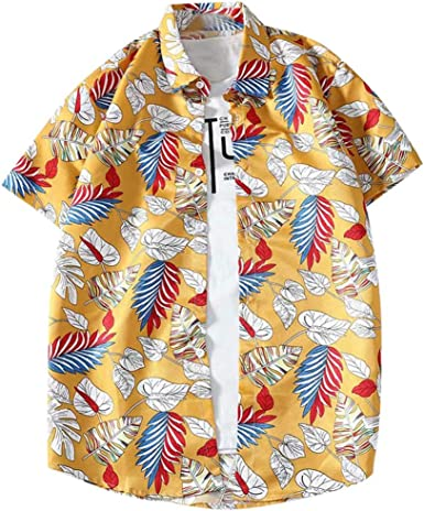 Geilisungren Hawaiana Florar Shirt Camisa Hombre Manga Corta ...