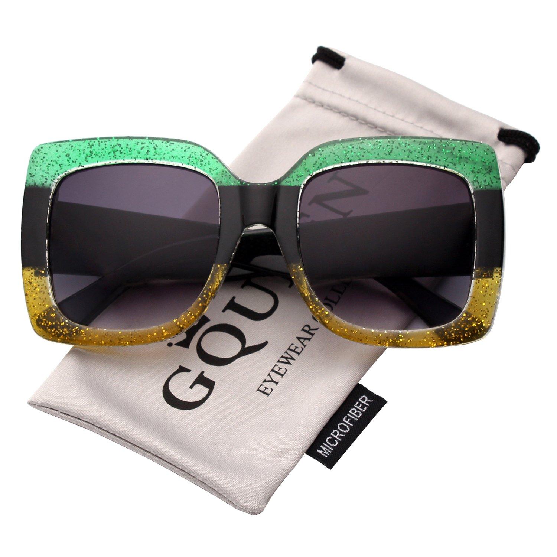 01d306a6e25a62 GQUEEN présente des lunettes larges de femmes à cadre carré, les lunettes  de Soleil sont colorés et brillent, ils sont de la marque Fahsion Shades  S904 ...