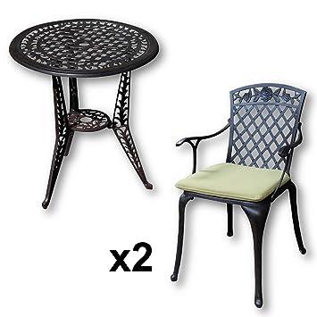 Bistrotisch Mit Stühlen Outdoor.Lazy Susan Ivy Bistrotisch Mit 2 Stühlen Rundes Gartenmöbel Set Aus Metall Antik Bronze Rose Stühle Grüne Kissen
