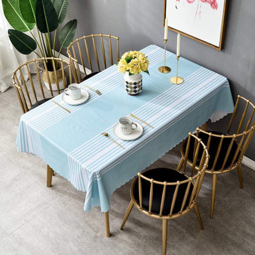 WJJYTX Wachstuch tischdecke, Square Wipe Clean Tischdecke Rechteckige wasserdichte Tischdecke aus Vinyl-PVC für die Gartenküche im Freien oder für den Innenbereich Blue Stripe @ 120 * 180