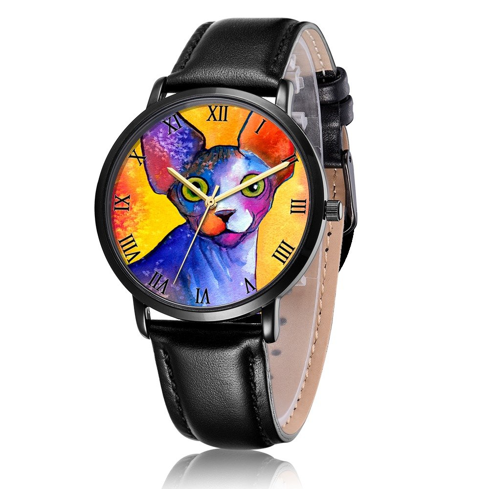 Amazon.com: Whiterbunny Customized Sphynx cat Painting Wrist Watch Unisex Analog Quartz Fashion Black Leather Strip/Black Dial Plate for Women and Men: ...