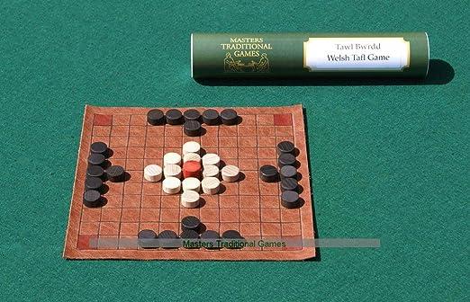 Masters Traditional Games Tawlbrdd Galés - Replica de Tablero de Cuero Medieval con Piezas de Madera: Amazon.es: Juguetes y juegos