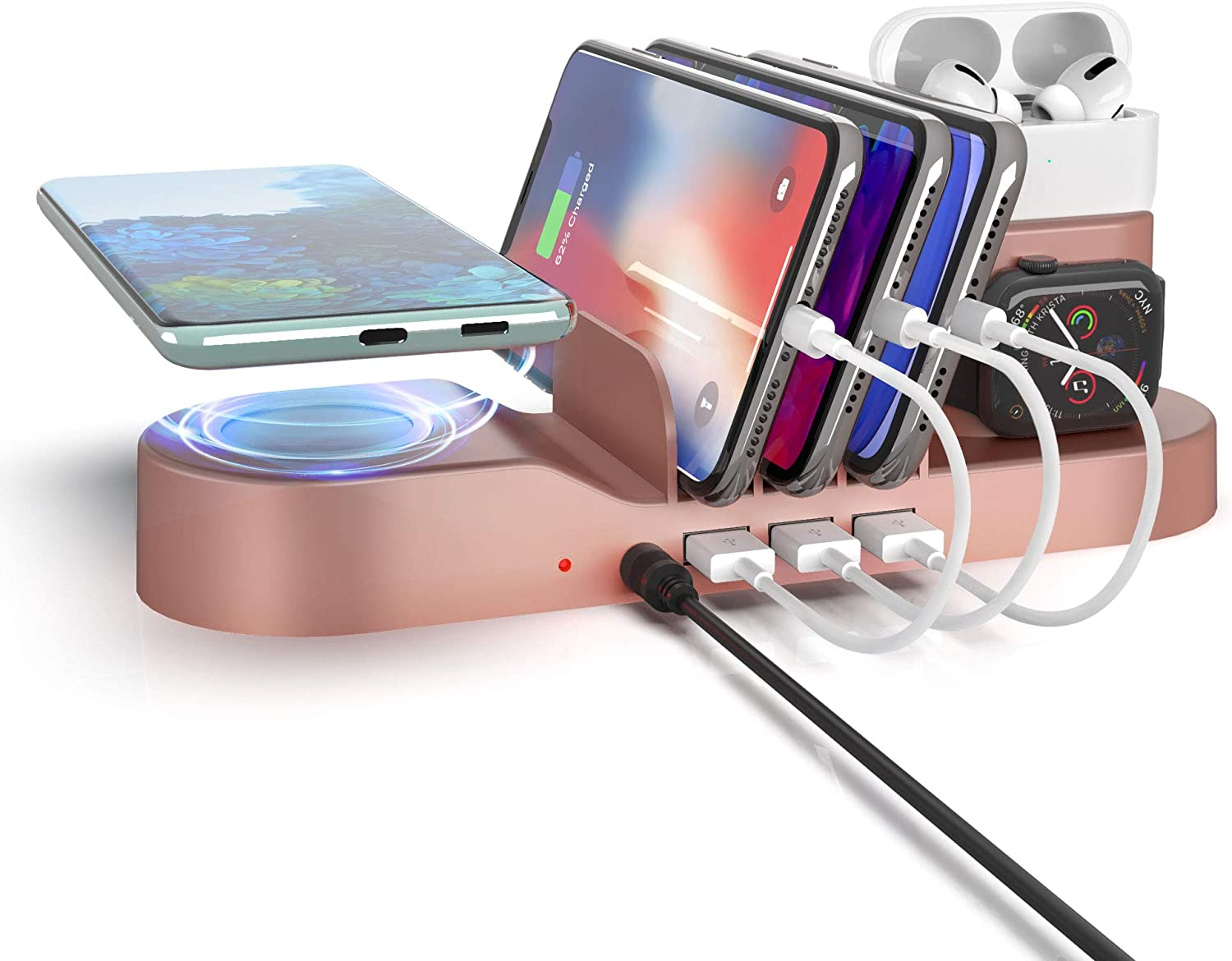 Imguardz 5 in 1 Charging Station for Multiple Devices, Multi Charger Organizer Docking Station with Wireless Charging 3 USB Port Compatible with Phone/AirPods/iPad/iWatch/Android Phone, Rose Gold