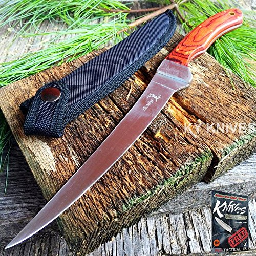 "New Elk Ridge Fillet Elite Knife 12"" Fixed Blade Wood for sale  Delivered anywhere in USA"