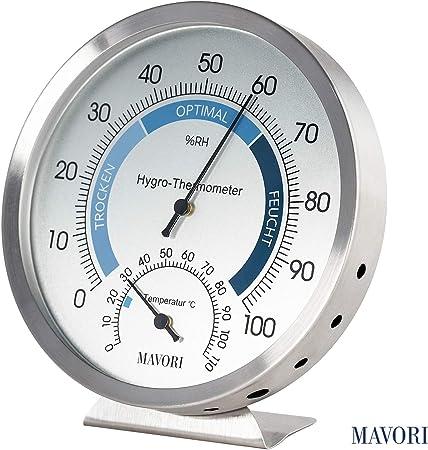 MAVORI® Termómetro Higrómetro Analógico de interior-Medidor de humedad y termómetro de acero inoxidable de alta calidad para un control fiable del ambiente interior