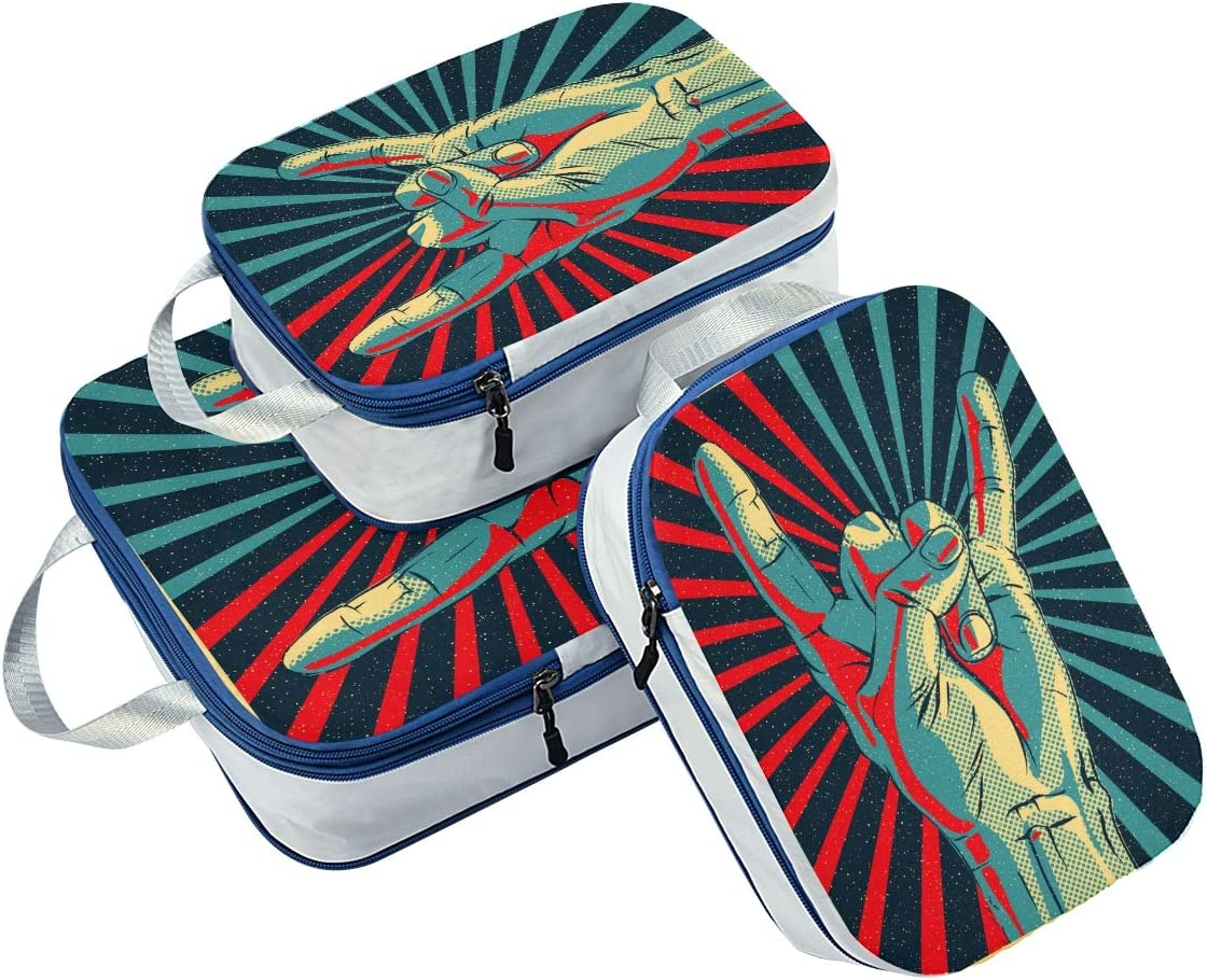LUPINZ Hand In Rock Roll Sign Travel Luggage Packing Organizers 3 Pieces Travel Cubes
