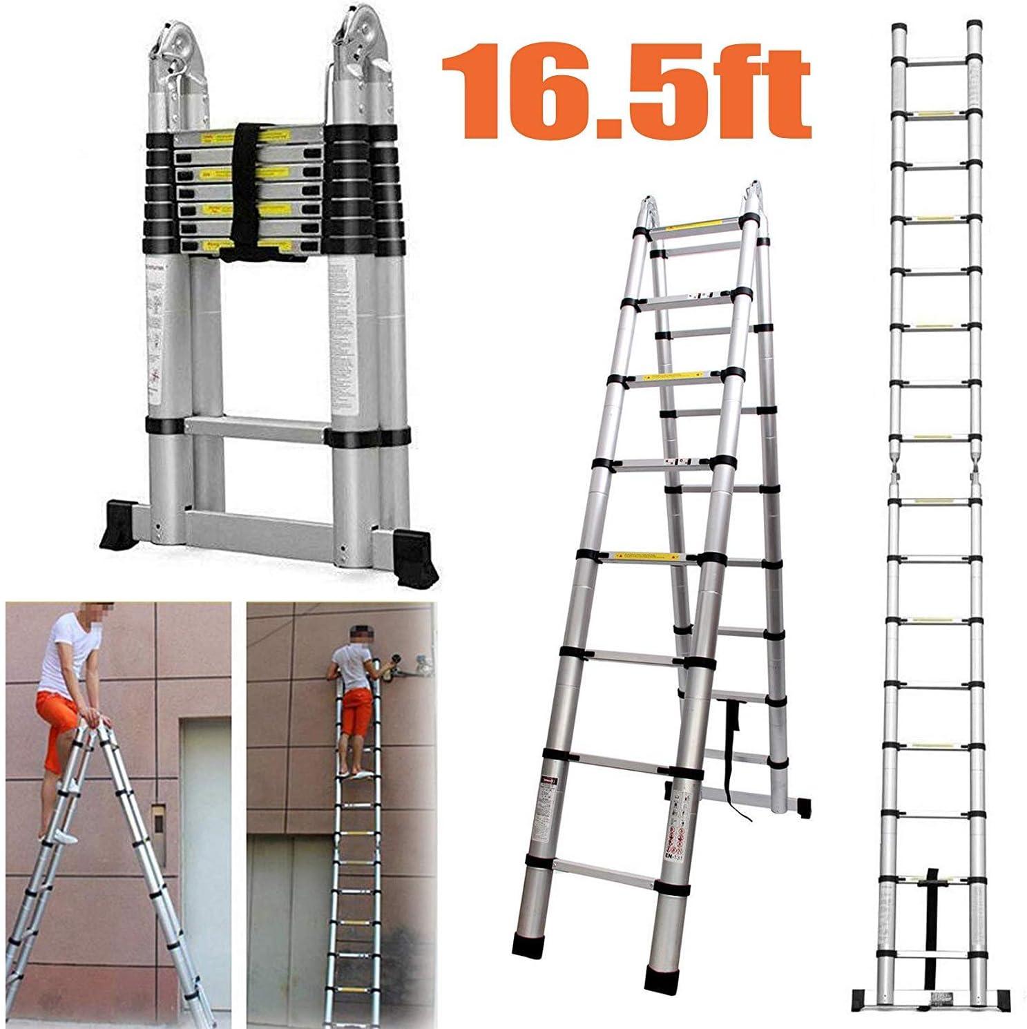 Escalera telescópica 5M un marco/escaleras rectas de aluminio portable Extensionable múltiples, con la barra estabilizadora Altura 16,5 pies 330 libras / 150 kg Carga máxima dljyy: Amazon.es: Bricolaje y herramientas