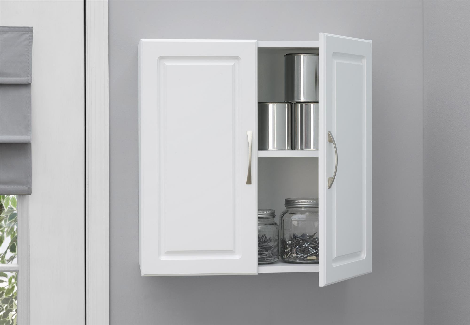 Ameriwood Home SystemBuild Kendall 24'' Wall Cabinet, White Stipple