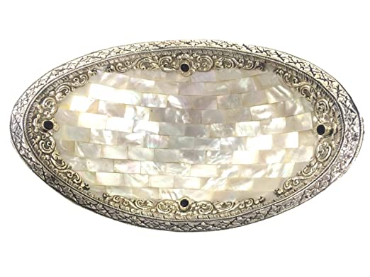 Christmas Tablescape Decor - Decorative ornate sterling silver edged mother-of-pearl oval dish with natural faceted garnet stone accents