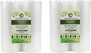 "Commercial Bargains 4 Large 8"" x 50' Vacuum Saver Rolls Commercial Grade Food Sealer Bags"