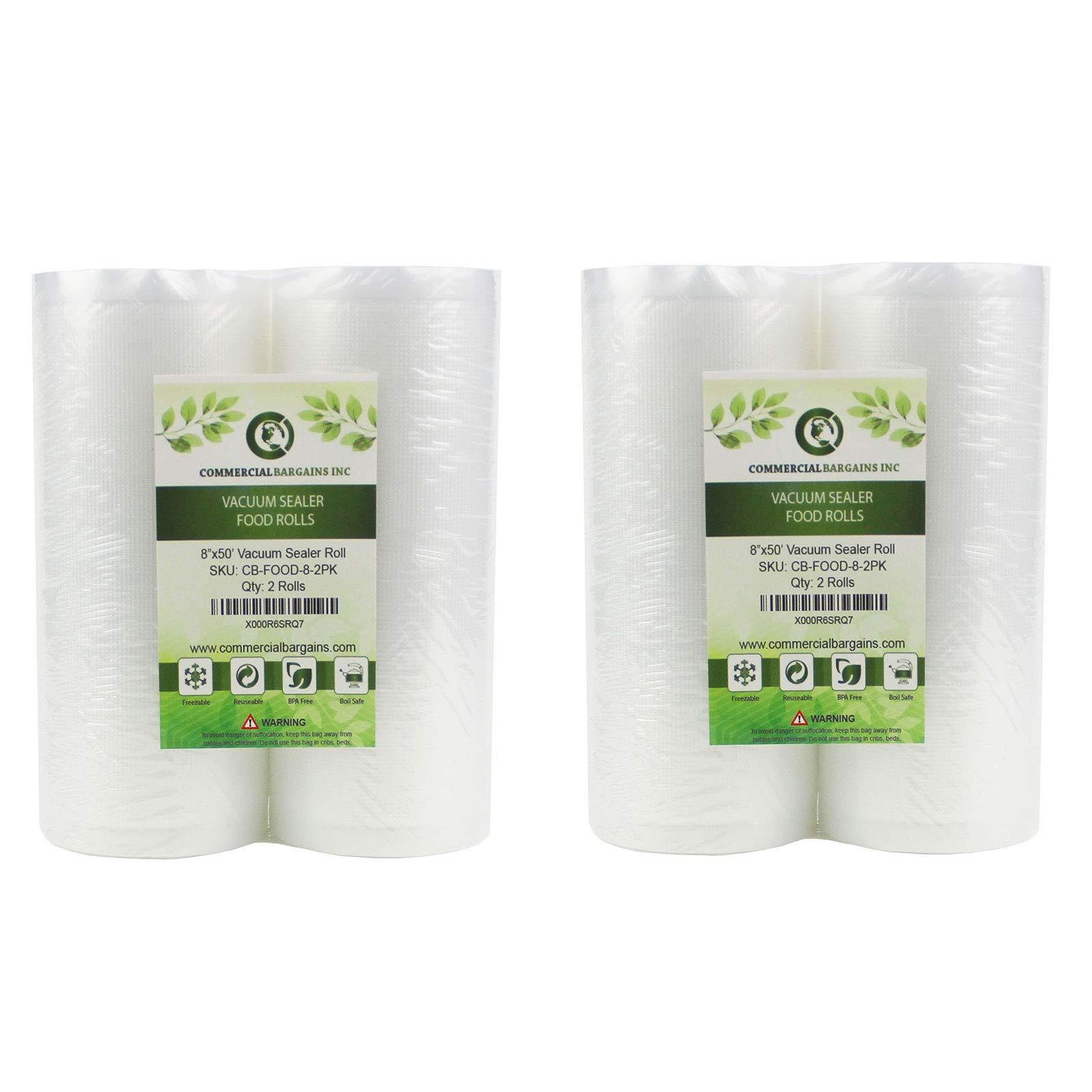 Commercial Bargains 4 Large 8'' x 50' Vacuum Saver Rolls Commercial Grade Food Sealer Bags by CommercialBargainsInc.