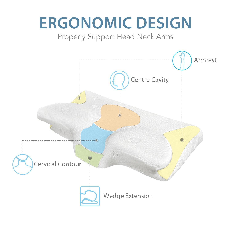 marnur almohada cervical Almohada Memory Foam Cojín ergonómico de King Size 64.5 * 37 * 14 cm para dormir de espalda para dormir de lado y duermen boca ...