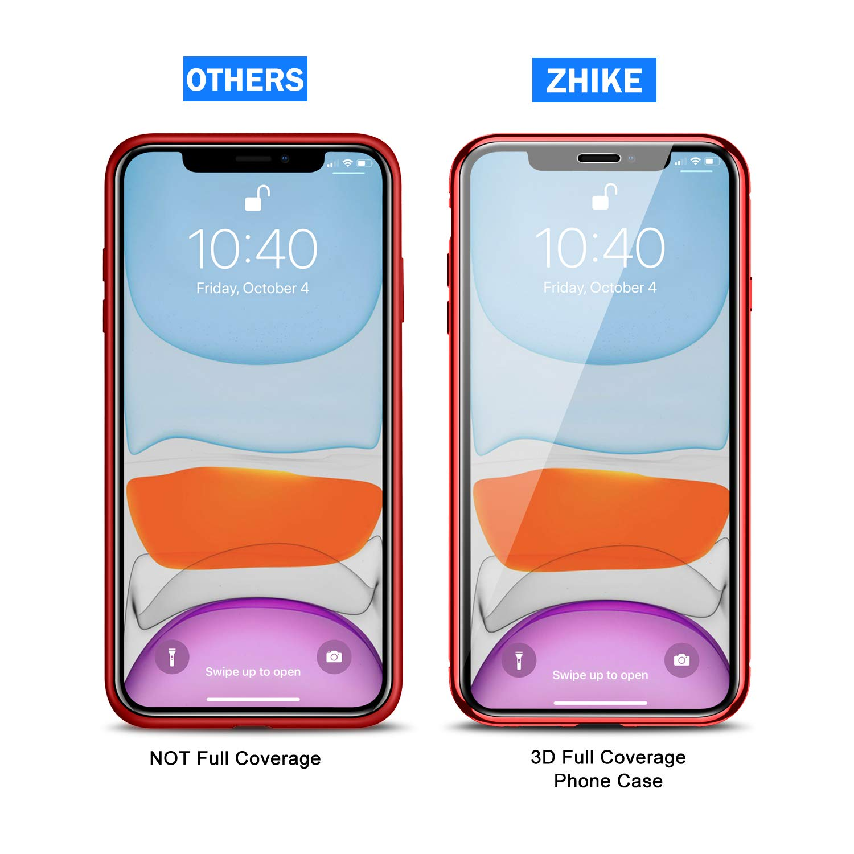 ZHIKE Funda para iPhone 11, Funda de adsorción magnética Anti-pío Cobertura de Pantalla Completa de Vidrio Templado Frontal y Posterior Cobertura de ...