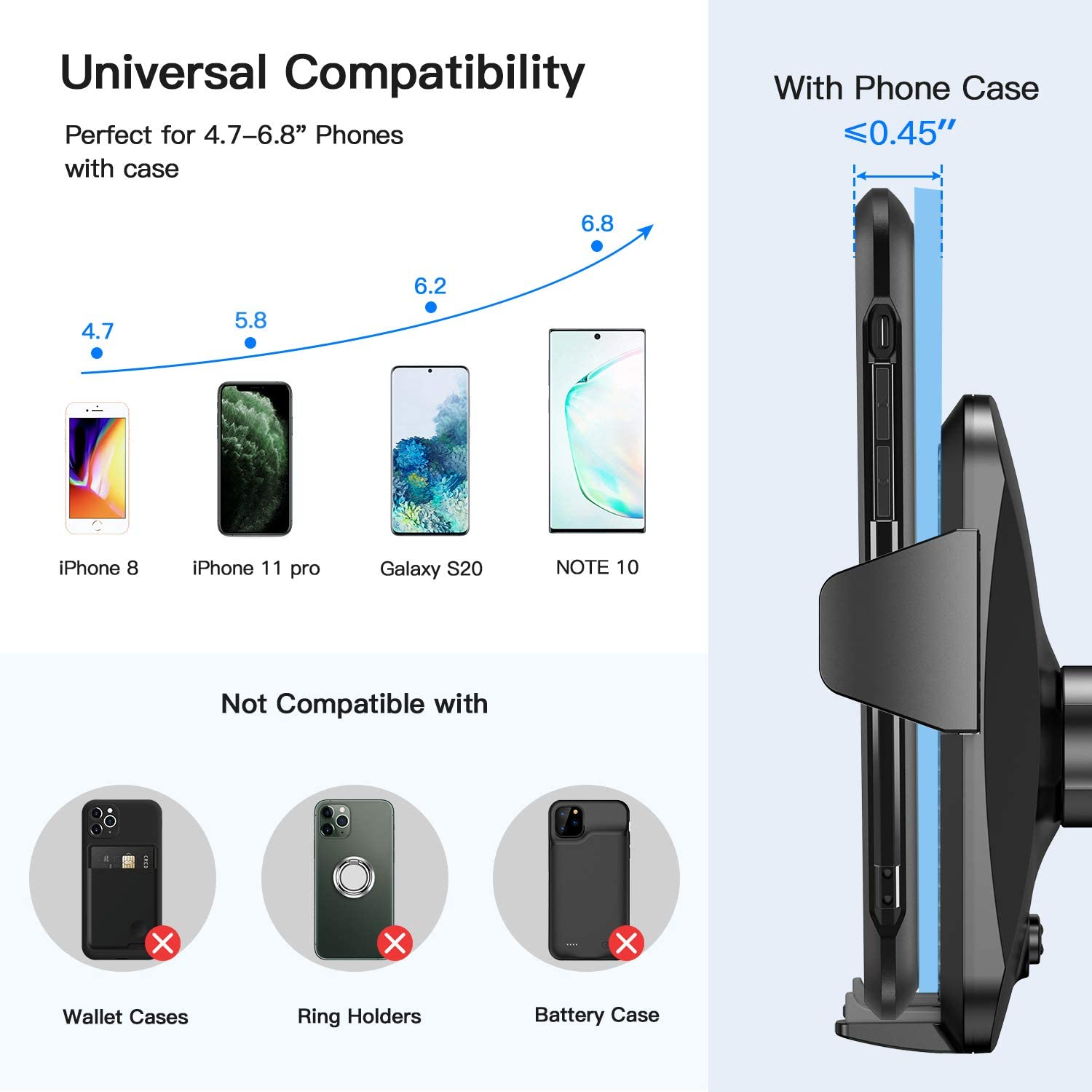 360 Rotation Cell Phone Stand for Car Real Stable Car Phone Mount Holder Fit for iPhone SE 11 X XS XR 8 Plus 7 etc 2020 Upgrade Universal Cell Phone Holder for Car and All Android Phones Joyroom