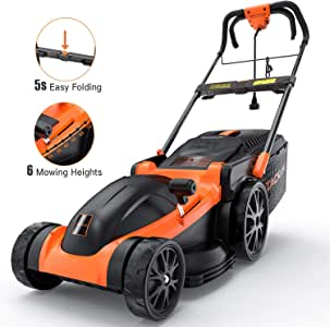 Electric Lawn Mower, TACKLIFE 16-Inch Corded Lawn Mower, 11-Amp Corded Lawnmower, 6 Mowing Heights, 16Gal Collect Box, No Assembly Required, Smart Folding in 5s