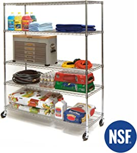 "Seville Classics MEGA Rack UltraDurable Commercial-Grade 5-Tier NSF-Certified Wire Shelving with Wheels, 60"" W x 24"" D, Plated Steel"