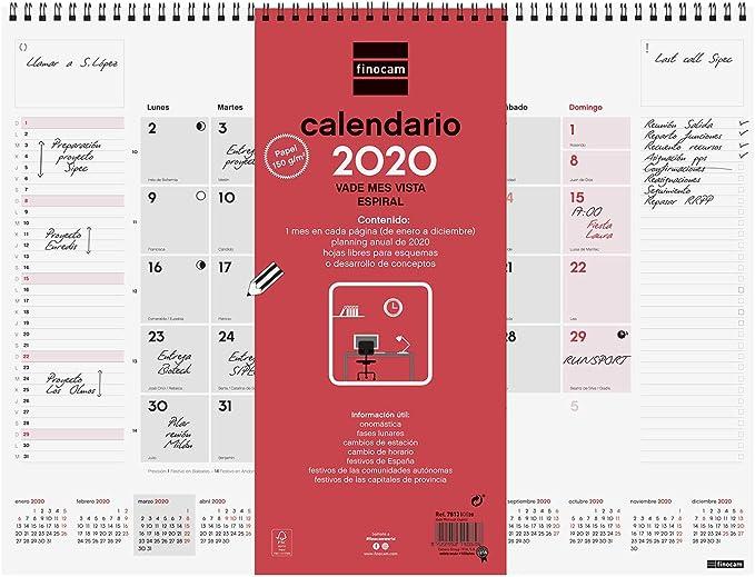 Finocam - Vade espiral 2020 mes vista catalán: Amazon.es: Oficina ...