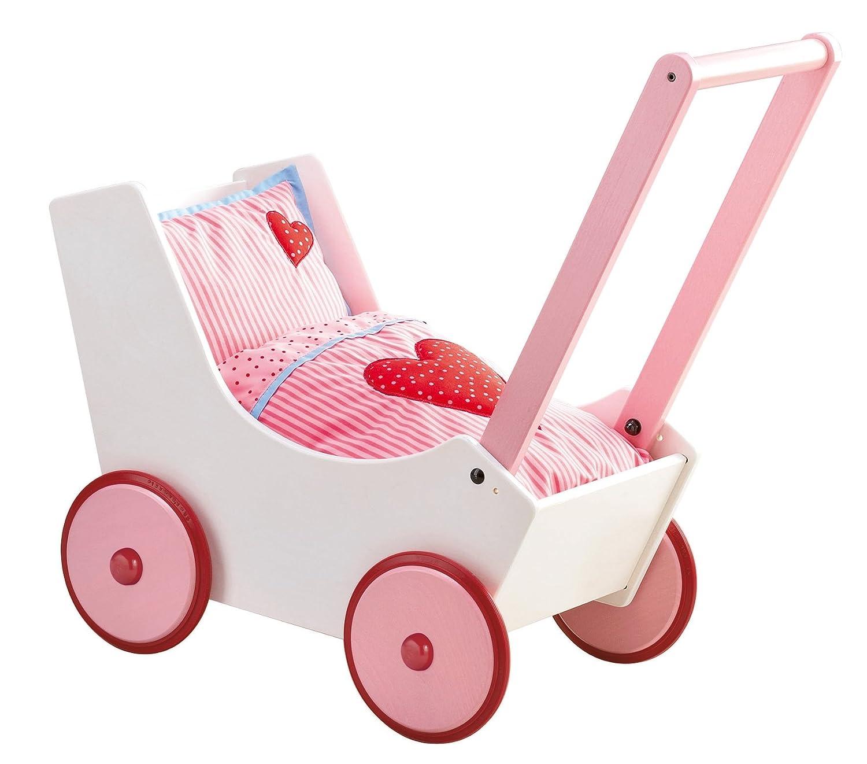 Lauflernwagen Holz Mädchen - HABA Puppenwagen Herzen