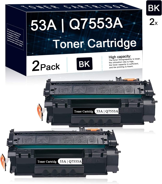 2 Pack Black 53A   Q7553A Compatible Toner Cartridge Replacement for Hp Laserjet P2014 P2014n P2015 P2015d P2015dn P2015x Pro M2727nf Multifunction Printers.