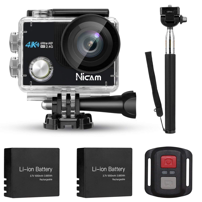 Nicam 4K WiFi Sport Action Kamera Mobile App Sport Kamera Ultra HD Wasserdichte DV Camcorder 12MP 170 Grad Weitwinkel Mit 2 x 1050 mAh Batterien Kamera für Radfahren Schwimmen Klettern Tauchen