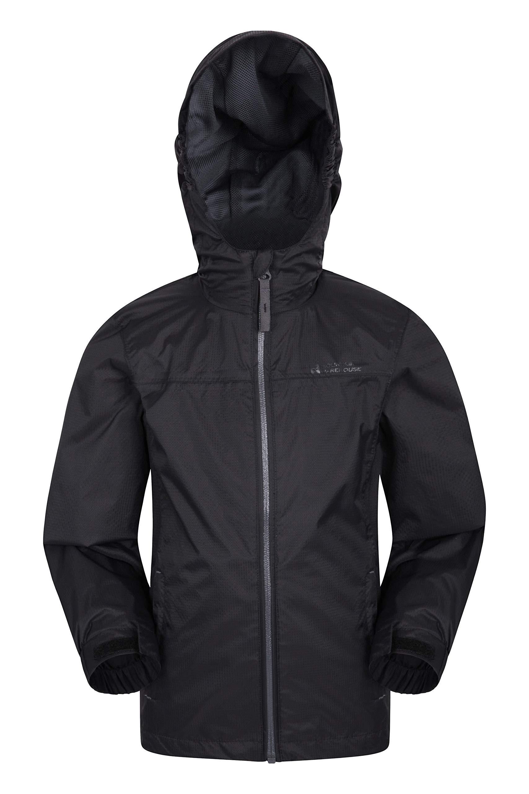 Boys Girls Trespass Qikpac Waterproof Jacket Unisex Kids Breathable Raincoat