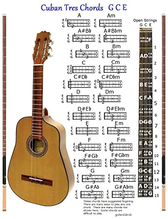 Amazon.com: CUBAN TRES CHORDS CHART GCE & NOTE LOCATOR - SMALL CHART ...