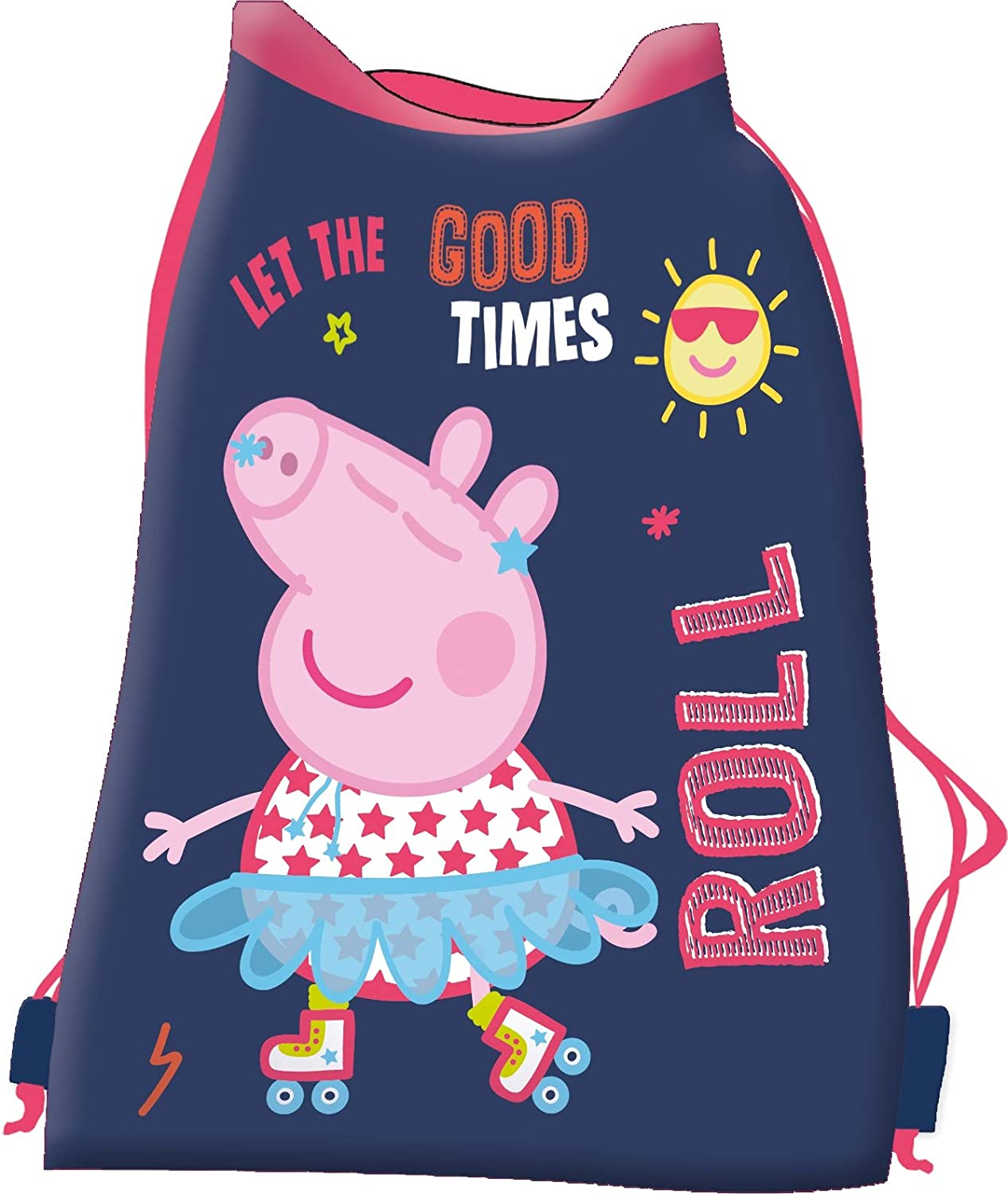 Peppa Pig Backpack Set with 3-Piece Glitter Set with Sandwich Box and Bottle for Kindergarten Cr/èche Pink and Black
