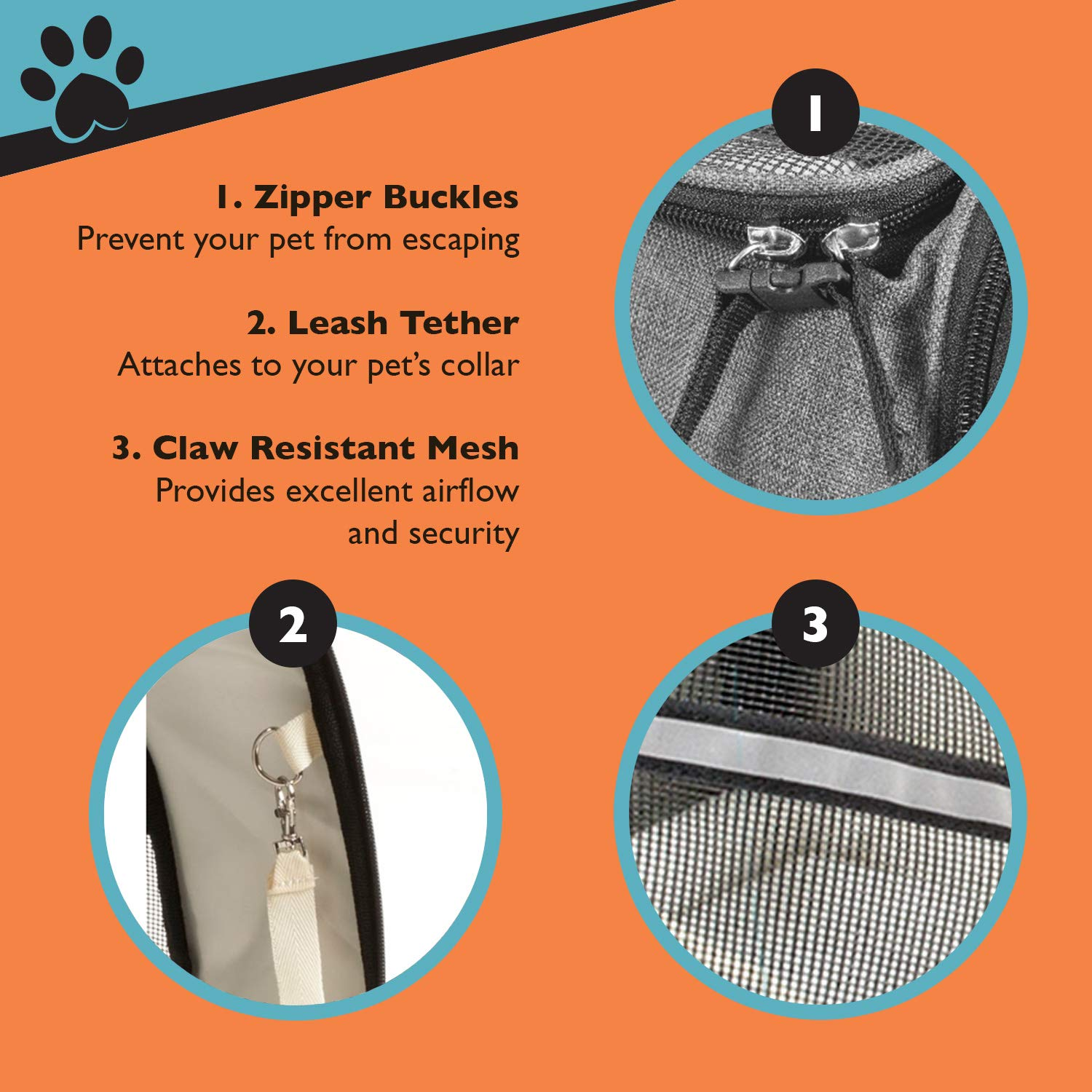 Soft-Sided with Two Pet Mats for Small Dogs and Cats Grey Pawfect Pets Pet Travel Carrier