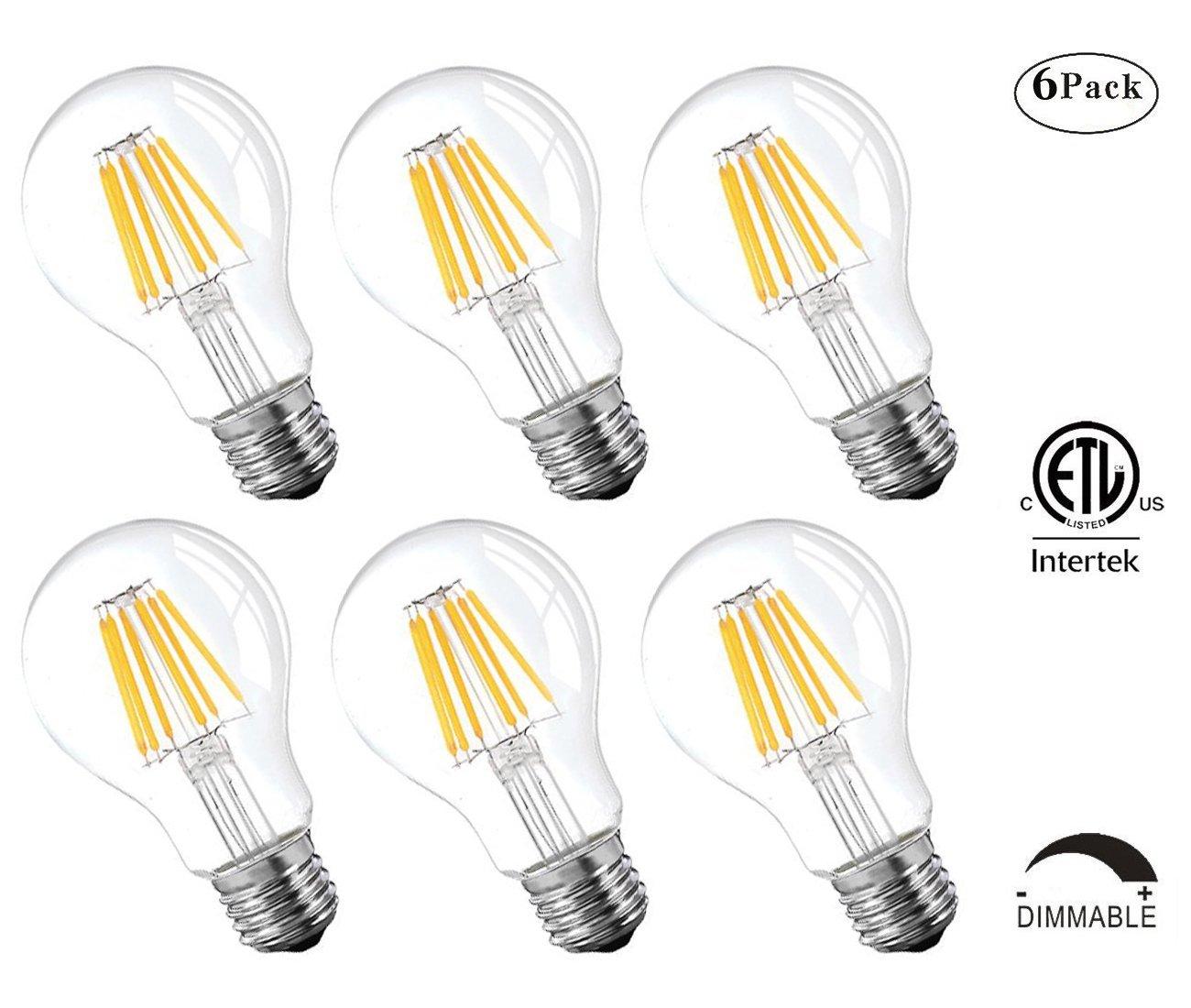 Dimmable LED Edison Bulbs,6W Antique LED Bulb,A19/A60 LED Light Bulb,Filament LED Bulbes,2700K Soft White,600 Lumens, Clear Glass Cover,6 Pack