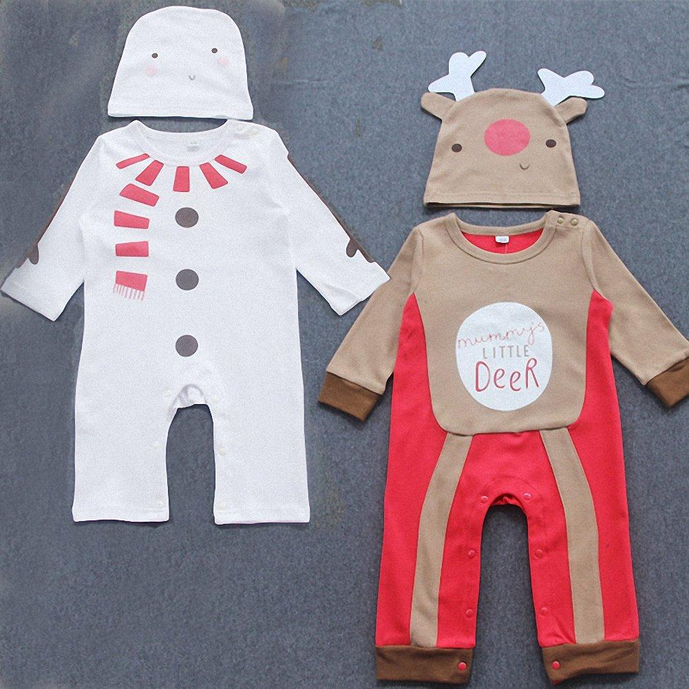 belababy bebé Navidad Romper Traje de Navidad muñeco de nieve y ciervos Estilo Bebé Pelele con gorro: Amazon.es: Ropa y accesorios