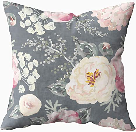 Amazon Com Kioao Pillowcase Standard 18x18inches Square For Cushion Home Decorative Pink Peonies Gray Leaves The Black Background Pattern Romantic Garden Pillow Covers Printed Both Sides Of Cotton Pink Black Home Kitchen