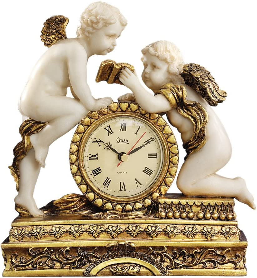 A picture of Design Toscano Chateau Carbonne Cherub Mantle Clock, which is one of the best mantel clocks out there