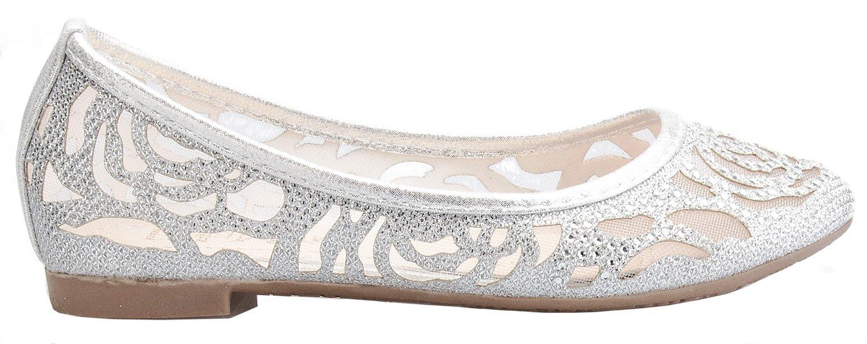 OLIVIA K Girl's Glitter and Mesh Detail Slip On Ballet Flats (Toddler/ Little Girl) by OLIVIA K (Image #2)